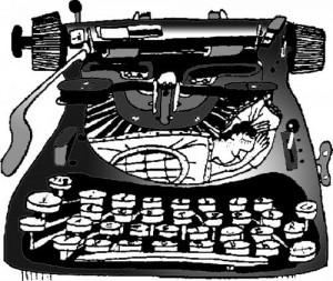 writer in typewriter