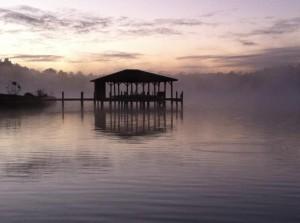 lake sunrise mist