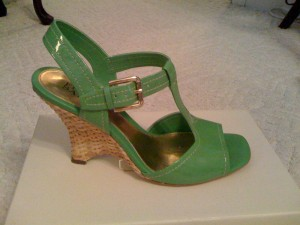 bright green patent wedge