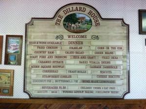 dillard house menu