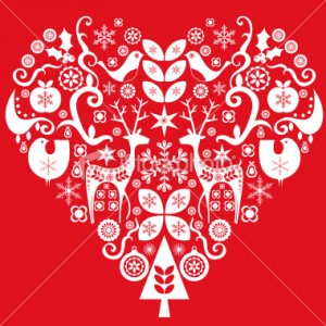 heart holiday stencil art