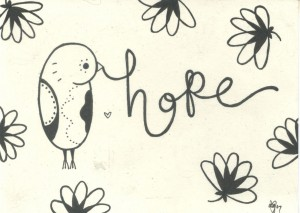 hope etching bird